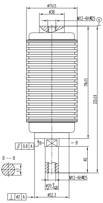 TF314Q负荷开关用真空灭弧室结构图