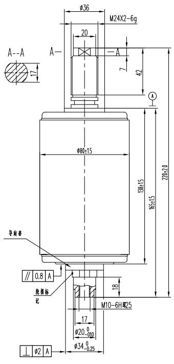 TD314B户外断路器用真空灭弧室结构图